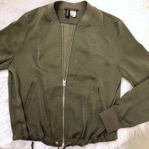 H&M Satiny Bomber Jacket Army Green